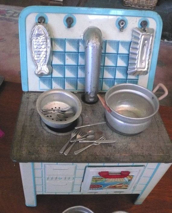 Vintage Tin Toy Stove Kitchen Utensils Fork Spoon Knife Art
