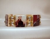SAINT FRANCIS of ASSISI Bracelet / Christian Jewelry / Scrabble Art / Relgious Unusual Gifts
