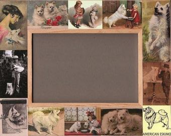American Eskimo / Dog Frame / Picture Photo / Antique Vintage Art