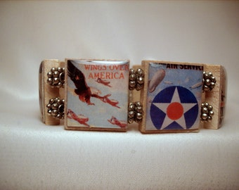 AIR FORCE Bracelet / Military Gift / SCRABBLE Handmade Jewelry / Upcycled