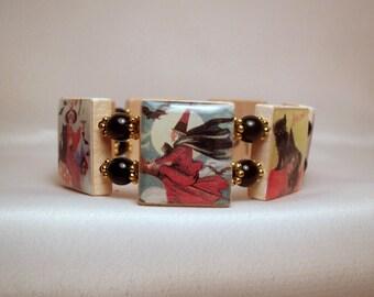 Vintage WITCH Art Bracelet / Halloween Jewelry / SCRABBLE / Upcycled Handmade Jewelry