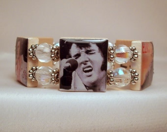 ELVIS / Jewelry / SCRABBLE Bracelet / Unusual Gifts / Upcycled - Repurposed