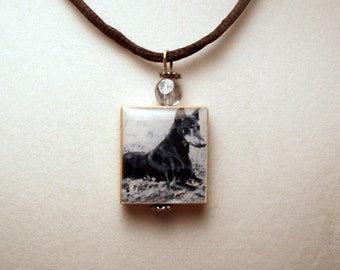 DOBERMAN Dog Necklace / Dobie Scrabble Pendant / Upcycled Handmade Jewelry / with Cord