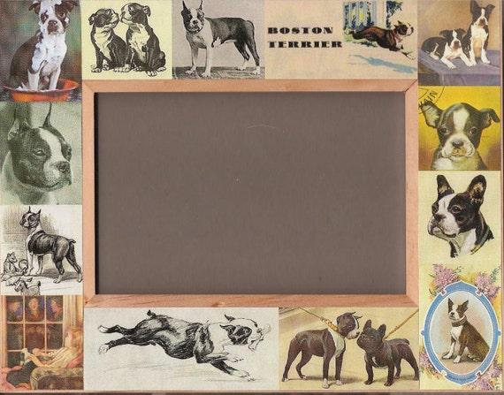 Boston Terrier Vintage Antique Art Photo Frame