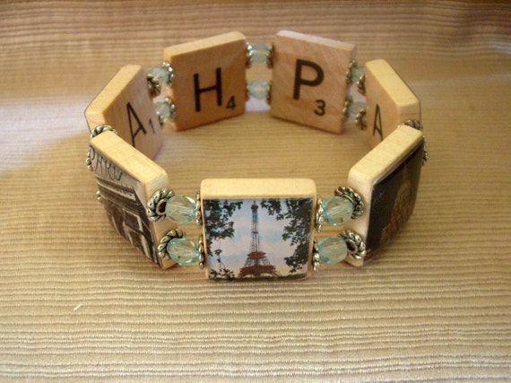 Paris Bracelet / France / Upcycled / Scrabble Jewelry