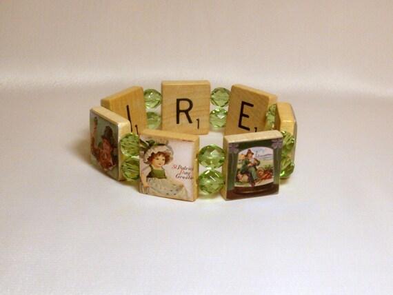 Ireland Scrabble Bracelet Vintage Antique Art