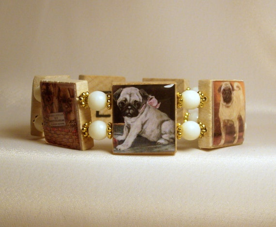 Pug Bracelet / Dog Lover Gift / Upcycled / Scrabble Jewelry