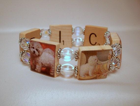 BICHON FRISE Bracelet / UPCYCLED / Scrabble Jewelry / Dog Lover Gift