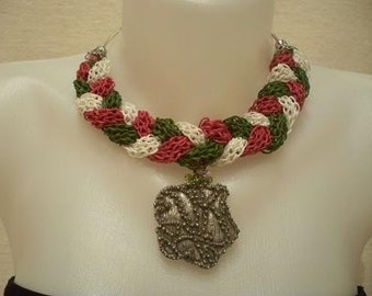 Knit necklace, Braided pendant, 3 colors, silver plated medallion.