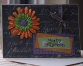 Big Flower Happy Halloween Card and Envelope