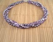 Amethyst Purple Pearl 3 Strand Necklace Amethyst Multistrand OOAK Purple Necklace Amethyst Torsade Twisted Strands Gemstone Necklace Bridal