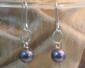 Black Pearl Drops Silver Pearl Earrings Freshwater Pearls Big Black Pearl Dangles Earrings for Her Sterling Silver Simple Elegant Rare Find