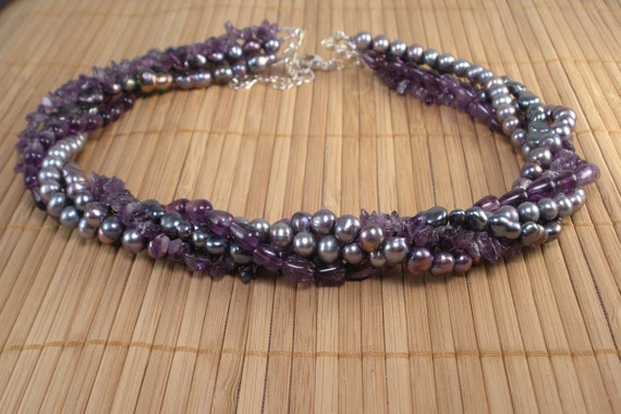 Amethyst and Purple Pearls Multi Strand Necklace -Amethyst Torsade