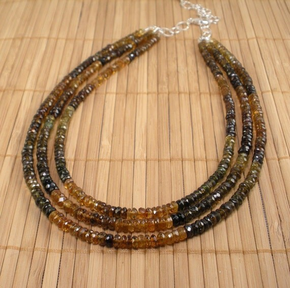 SALE Tourmaline Green, Brown and Golden Faceted Bead Multistrand Necklace