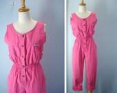 1980s Jumpsuit / Distressed Pink Playsuit Jumpsuit
