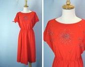 July 4th Dress / 1970s Red Fireworks Dress / l xl
