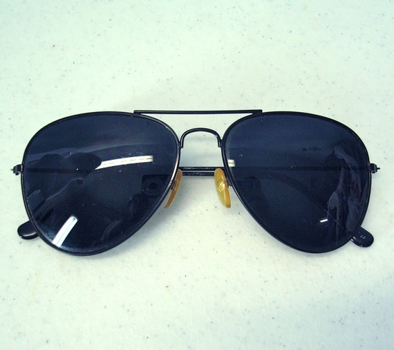1980s Aviator Sunglasses / 80s Gray Sunglasses