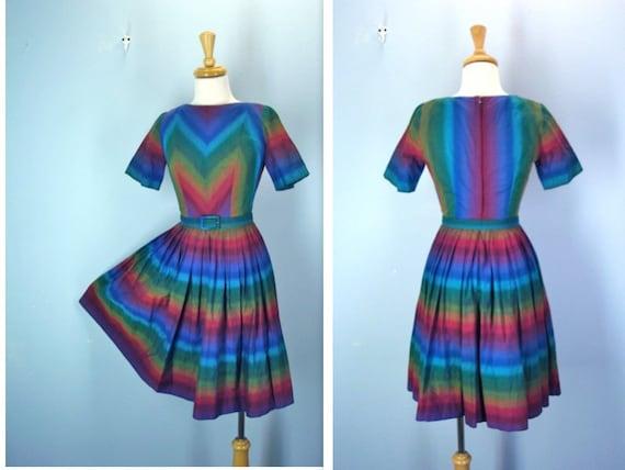 RESERVED LISTING Vintage 1960s Dress / Bold Chevron 50s 60s Multi-Color Dress / xs