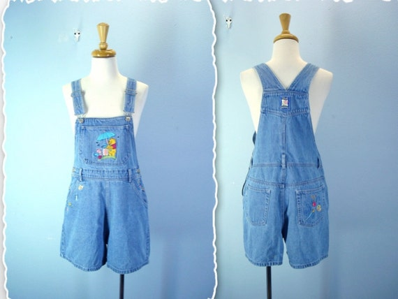 Vintage Overalls Shorts / Womens 80s 90s Winnie the Pooh Denim Overalls / small