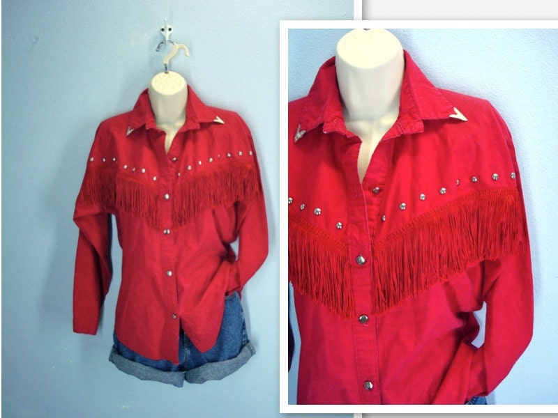 Vintage Red Shirt Fringed Red Western Shirt Blouse S M