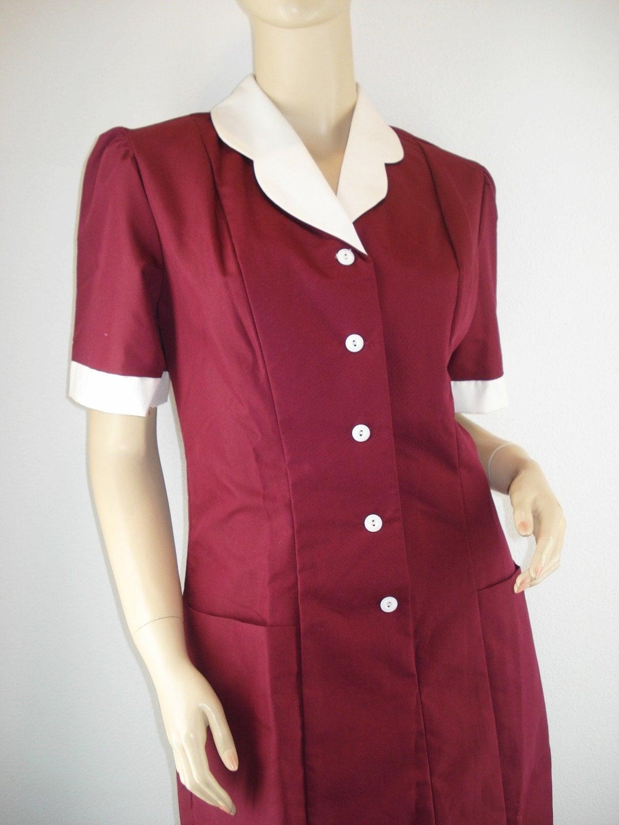 Vintage Burgundy Crest Waitress Uniform Dress Costume Small