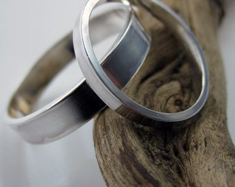 Set Recycled Palladium Sterling Wedding Rings Simple and Polished