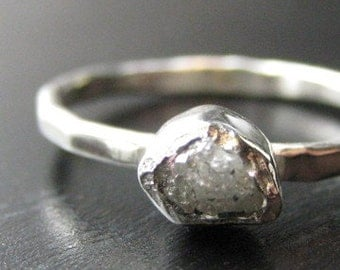 Rough Diamond and Tiny Cut Diamond Ring