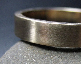 Recycled Hand Forged 14k Yellow Gold Ring 4mm Band Satin Finish