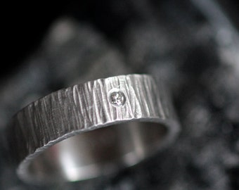 Palladium Band Hand Forged Ring with Ethical Diamond