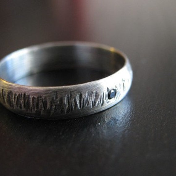 Hand ForgedTextured Black Flash Ring Recycled Silver