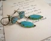 Atlantic Breeze Earrings, sea blue and bottle green glass, antiqued brass