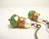 Turquoise picasso czech glass earrings pearls copper