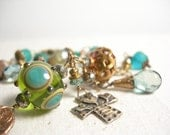 Reserved For Cindy, Prasiolite bracelet sterling silver cross teal geometric lampwork copper