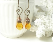 Topaz swarovski crystal earrings rhinestones brass golden yellow