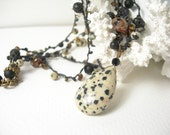 Dalmation jasper necklace crocheted champagne quartz black onyx bronze glass petro tourmaline