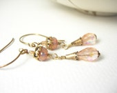 Pink opal glass dangle earrings pastel fashion