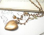 Cyber Monday Sale, Heart locket necklace mystic champagne quartz grossular garnet hessonite chalcedony beaded crochet