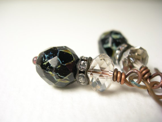 Raven earrings rhinestones swarovski silver crystal jet czech glass
