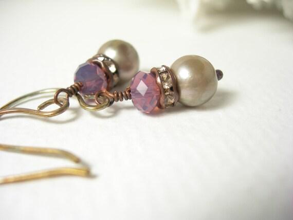 Purple opal swarovski crystal earrings platinum freshwater pearl rhinestones mother day fashion