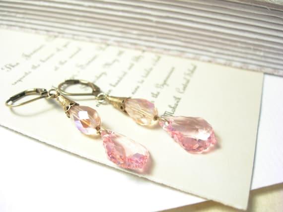 Tea rose earrings swarovski crystals wedding fashion pink rose