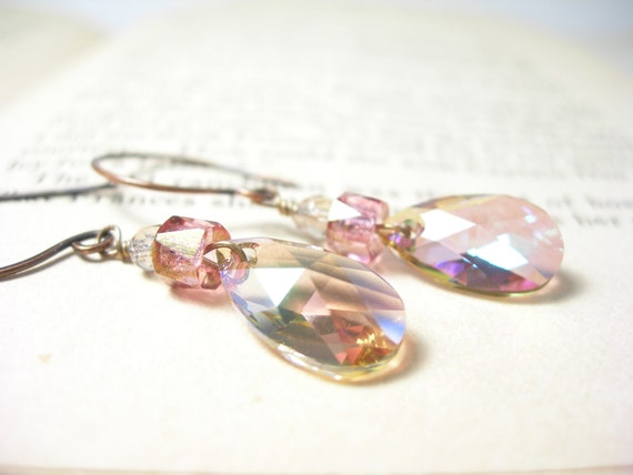 Peony pink earrings swarovski purple haze crystals rose pink glass artisan handmade bridal fashion