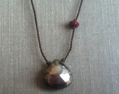 Faceted pyrite & faceted ruby necklace