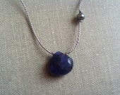 Blue chalcedony and freshwater pearl necklace