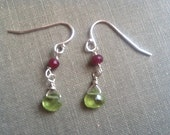 Peridot and ruby and sterling earrings