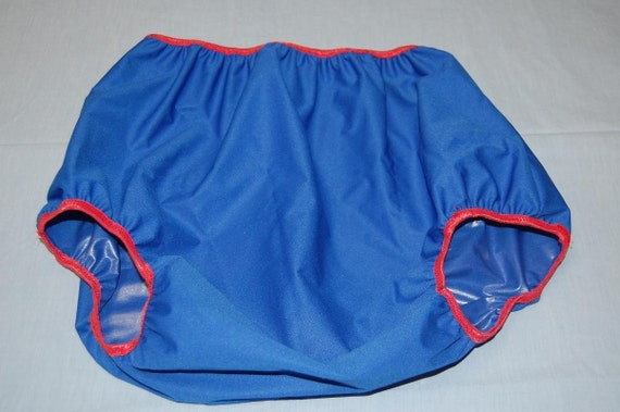 Adult Diaper Cover - Waterproof PUL - Blue and Red - Size 28-38 inches