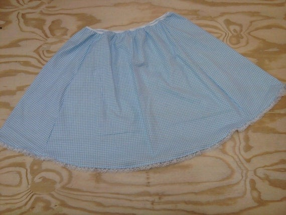 Blue Gingham Skirt with Lace - Elastic Waist - Size 34 to 44 inches