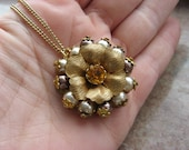 Bella flower recycled pearl and mette gold necklace ooak