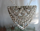 Art deco pot metal necklace with rhinestones one of a kind