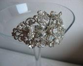 Upcycled rhinestone bracelet, vintage brooch bracelet, ooak, christmas her
