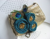 Gold mesh and peacock feather evening bag, ooak cocktail pruse, christmas her